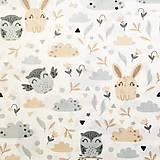 Textil - Zajkovia a sovy, 100 % bavlna Poľsko, šírka 160 cm - 11550403_