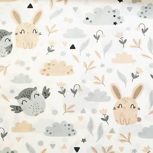 Zajkovia a sovy, 100 % bavlna Poľsko, šírka 160 cm