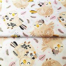 Textil - Ružovkavé vtáčatá, 100 % bavlna Poľsko, šírka 160 cm - 11550997_