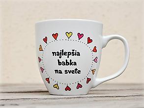 Nádoby - Maľovaný hrnček pre babku a dedka - Srdiečkový (najlepšia babka na svete) - 11551024_