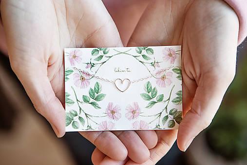 """Strieborný náramok so srdiečkom (+ kartička """"ľúbim ťa"""")"""