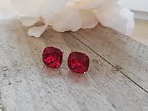 Náušnice - Swarovski cushion red magma - 11551736_