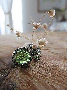 Náušnice - Olivínové s patinou - 11548176_