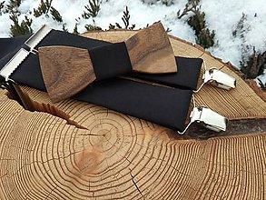 Doplnky - Pánsky drevený motýlik a traky - 11550268_