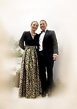 Sukne - Dámska sukňa dlhá zlaté ornamenty - 11548545_