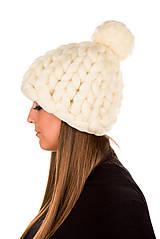 Čiapky - Oversized čiapka z merino vlny (Béžová) - 11549351_