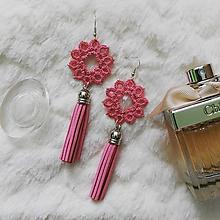 Náušnice - Náušnice s čipkou a strapcom ružové - 11551381_