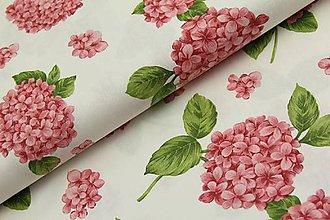 Textil - Hortenzia na smotanovej š.140 - 11549056_
