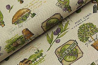 Textil - Motív oliv na režnom podklade š.140cm - 11549165_