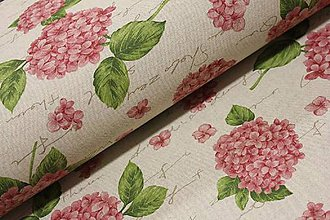 Textil - Hortenzia na režnej š.140cm - 11549174_