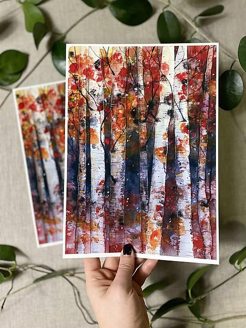Obrazy - Brezový les, (ART PRINT) akvarel - 11548798_