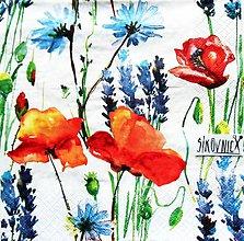 Papier - S1464 - Servítky - lúka, mak, lúčne kvety, akvarel - 11552078_