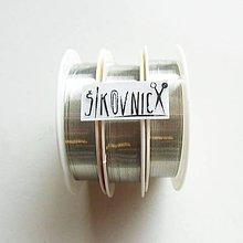 Suroviny - Farebný drôt, Ø 0,3 mm   (25 m, strieborná) - 11552228_