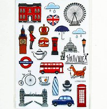 Papier - Samolepky - Londýn, Tower Bridge, Big Ben - 11553822_
