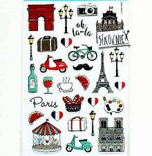 Papier - Samolepky - Paríž, eiffelovka, croissant, bike, moped, fúzy - 11553909_