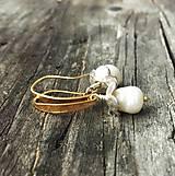 Náušnice - bucľaté perlové zvončeky s pozlátenými striebornými háčikmi (Ag 925) - 11551977_