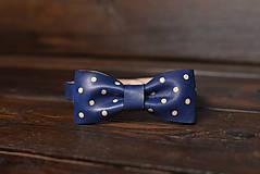 Doplnky - Kožený motýli bodkovaný modrý - 11553075_