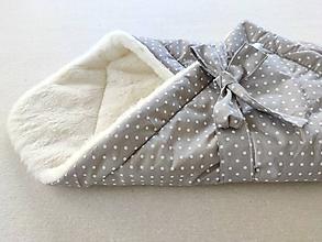 Textil - Klasická zavinovačka pre novorodenca zimná 100% MERINO TOP Bodka sivá - 11552745_