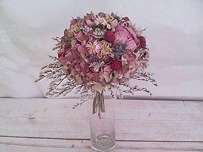 Kytice pre nevestu - Svadobná kytica vintage ... ružová pivonka ... - 11553816_
