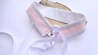 Opasky - Folk dámsky opasok v ružovo bielej - svadobný opasok - 11552304_