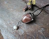 Náhrdelníky - Mesiac a voda (mesačný kameň, riečna perla) - 11553745_