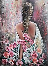 Obrazy - Dáma v ružiach- blondína  - 11553511_