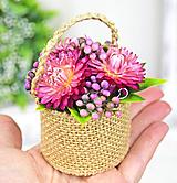Dekorácie - Slamienkový košíček malý - 11554402_