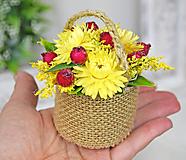 Dekorácie - Slamienkový košíček malý - 11554421_