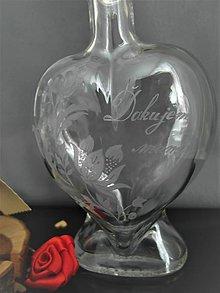 Nádoby - Gravírovaná fľaša srdiečko ďakujem - 11557934_