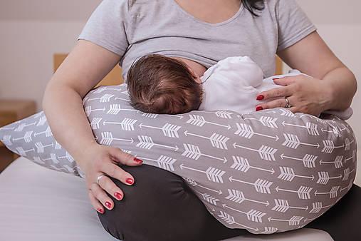 Tehotenský vankúš / Vankúš na dojčenie béžovo-sivé veľryby