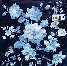 Papier - S1467 - Servítky - kvety, modrá, modrotlač, vintage - 11556838_