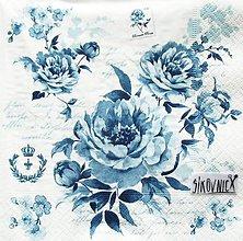 Papier - S1466 - Servítky - kvety, vintage, modrá, modrotlač - 11557033_