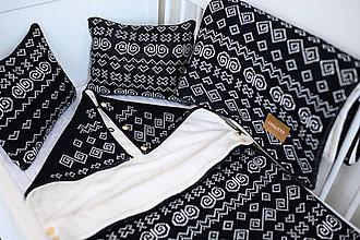 Textil - Detský fusak, Čičmany, OEKO-TEX®, čierno-smotanový - 11557118_