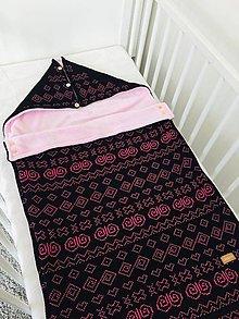 Textil - Detský fusak, Čičmany, OEKO-TEX®, čierno-ružový - 11557127_