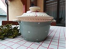 Nádoby - Vintage keramická zapekacia misa s poklopom - 11556534_