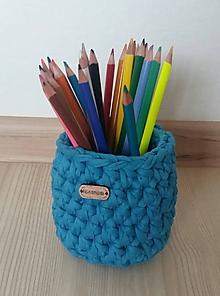 Košíky - Modrý košík na pastelky - 11555939_