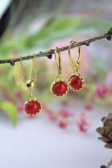 """Sady šperkov - """"koral"""" náušnice a prívesok v striebre - luxusný set - 11557015_"""
