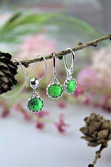 Sady šperkov - Mohavský tyrkys náušnice a prívesok v striebre - luxusný set - 11557206_