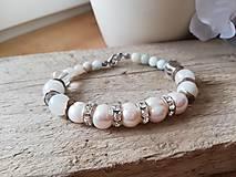 Náramky - Pravá perla,amazonit,krištáľ - 11558998_