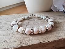 Náramky - Pravá perla,amazonit,krištáľ - 11558999_