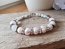 Náramky - Pravá perla,amazonit,krištáľ - 11559000_