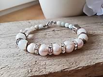 Náramky - Pravá perla,amazonit,krištáľ - 11559001_