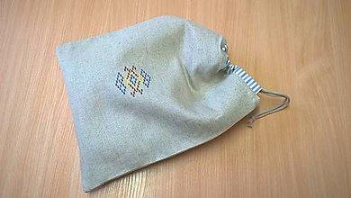 Úžitkový textil - Ľanové vrecko na chlebík-(38x30)cm - 11557121_