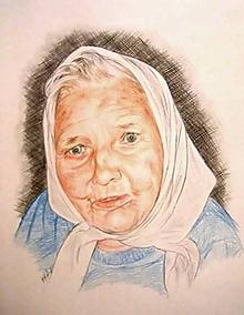 Kresby - babička - portrét A3 farebný - 11555844_