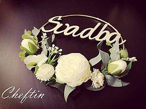 Dekorácie - Zlatá svadobná obruč - greenery - 11558682_
