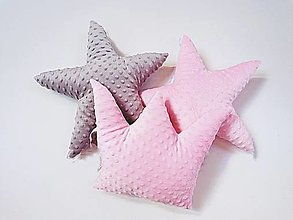 Textil - Minky vankúšik hviezdička - 11561852_