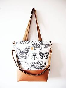 Veľké tašky - Veľká taška - motýle s karamelovou - 11560381_