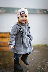 Detské oblečenie - Detský fleecový kabátik s volánikmi - sivá - 11560788_