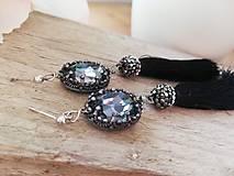 Náušnice - Swarovski oval black diamond - 11562174_