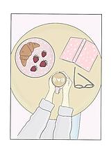 """Grafika - Ilustrácia """" Croissant & Cappuccino"""" - 11561249_"""